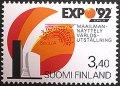 フィンランド1992年  EXPO '92 セビリャ 切手