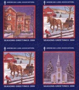 画像1: アメリカ クリスマスシール 2000年 馬そり 教会