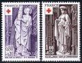 フランス切手 1976年 赤十字切手 ブル教会の彫刻