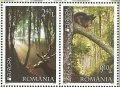 ルーマニア切手  2011年 森林 アカシカ アカリス 2種