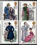 イギリス切手 1975年 オースティン生誕200年 4種