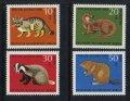 西ドイツ切手 1968年 青少年福祉 アナグマ カワウソ 4種