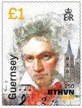 ガーンジー島切手  2020年 ルートヴィヒヴァン・ベートーヴェン 生誕250周年 1種