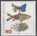 ドイツ切手 1981年 環境保護 汚染された魚、葉、蝶 1種