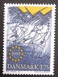 デンマーク1992年 EC市場 切手
