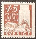 スウェーデン 1948年アメリカ移住100年 切手
