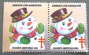 画像1: アメリカ1985年クリスマスシール キラキラ